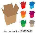 opened cardboard box set | Shutterstock .eps vector #113255431