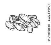 hand drawn pistachios set. open ... | Shutterstock .eps vector #1132554974