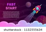 fast start poster. rocket... | Shutterstock .eps vector #1132555634