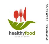 healthy food logo template | Shutterstock .eps vector #1132563707