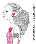 beautiful girl with headphones | Shutterstock .eps vector #1132570814