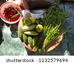organic vegetables and knife on ... | Shutterstock . vector #1132579694