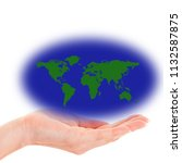 hand holding a product isolated ...   Shutterstock . vector #1132587875