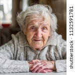 portrait of a very old woman ...   Shutterstock . vector #1132591781