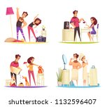 cartoon 2x2 design concept with ... | Shutterstock .eps vector #1132596407