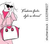 beautiful girl in pink coat  in ... | Shutterstock .eps vector #1132598027