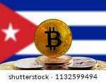bitcoin btc on stack of... | Shutterstock . vector #1132599494
