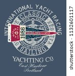 classic vintage yacht  racing... | Shutterstock .eps vector #1132601117