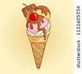 ice cream cone with cherry on... | Shutterstock .eps vector #1132605554