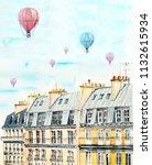rooftop paris and air balloon... | Shutterstock . vector #1132615934