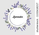 lavender round frame  wreath.... | Shutterstock .eps vector #1132618217