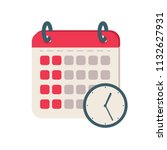 calendar time icon. flat... | Shutterstock .eps vector #1132627931