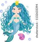 cartoon  cute little mermaid ...   Shutterstock . vector #1132633394