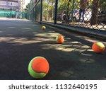 tennis ball on hard court under ...   Shutterstock . vector #1132640195