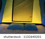 scenic view lying in tent...   Shutterstock . vector #1132640201