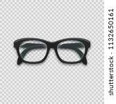 classic black glasses on... | Shutterstock . vector #1132650161