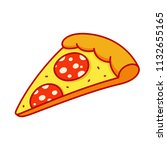 pepperoni pizza slice drawing... | Shutterstock .eps vector #1132655165
