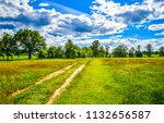 summer green rural country road ... | Shutterstock . vector #1132656587