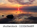 sunset water horizon two ducks... | Shutterstock . vector #1132656689