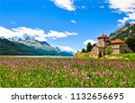 mountain meadow flower castle... | Shutterstock . vector #1132656695
