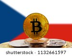 bitcoin btc on stack of... | Shutterstock . vector #1132661597