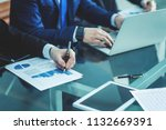 business team discussing a new...   Shutterstock . vector #1132669391