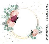 Beautiful round floral frame with place for text. Vector illustration