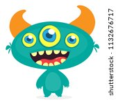 funny cartoon three eyed alien. ... | Shutterstock .eps vector #1132676717