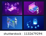 isometric robots man with... | Shutterstock .eps vector #1132679294