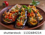 pan fried eggplants with... | Shutterstock . vector #1132684214