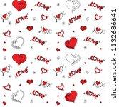 hand drawn hearts. design... | Shutterstock .eps vector #1132686641