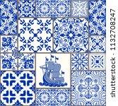 majolica pottery tile  blue and ... | Shutterstock .eps vector #1132708247