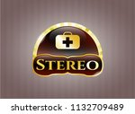 gold badge or emblem with... | Shutterstock .eps vector #1132709489