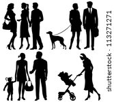 several people on the street  ... | Shutterstock .eps vector #113271271
