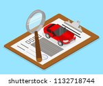 car valuation and insurance.... | Shutterstock .eps vector #1132718744