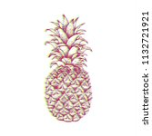 pineapple in glitch style .... | Shutterstock .eps vector #1132721921