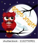 cute cartoon owl coquettish red ... | Shutterstock .eps vector #1132753901