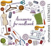 set of tools for needlework and ... | Shutterstock . vector #1132766171