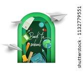 back to school banner in paper... | Shutterstock .eps vector #1132779551