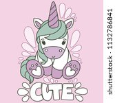 cute cartoon unicorn with... | Shutterstock .eps vector #1132786841