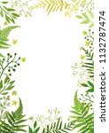 frame with leaves. floral set... | Shutterstock . vector #1132787474