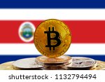 bitcoin btc on stack of... | Shutterstock . vector #1132794494