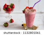 a large glass of thick... | Shutterstock . vector #1132801061