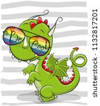 cool cartoon cute dragon with... | Shutterstock .eps vector #1132817201