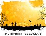 grungy halloween background...   Shutterstock .eps vector #113282071