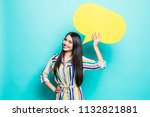 young woman holding a speech... | Shutterstock . vector #1132821881
