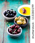 assorted marinated olives in... | Shutterstock . vector #113283199