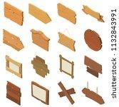signpost road wooden icons set. ... | Shutterstock . vector #1132843991