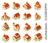 church building wooden icons... | Shutterstock . vector #1132843994