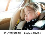 asian little girl sleeping in... | Shutterstock . vector #1132850267